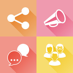 Social media colorful flat icons