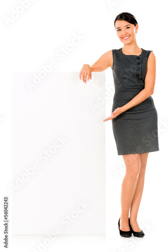 Business woman white banner