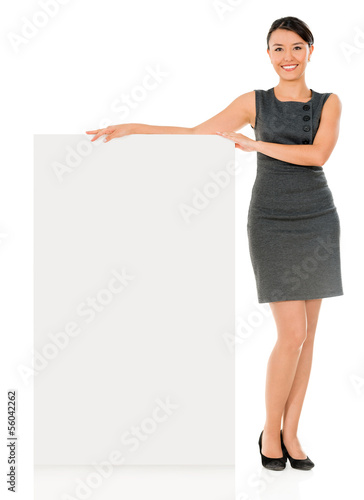 Business woman with a banner