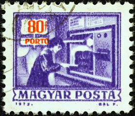 Automatic parcels registration machine (Hungary 1973)