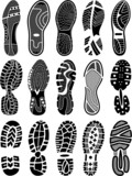 Shoe soles vector silhouettes collection