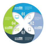 Modern business infographic banners from paper in a circle shape