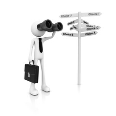 3d people with binocular and guidepost