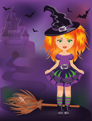 Happy halloween little witch, vector illustration