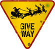 Traffic sign; Give way for Santa, Christmas illustration