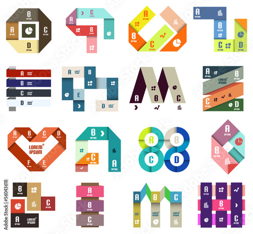 Set of origami modern design templates