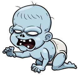 Vector illustration of Cartoon zombie baby