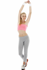 Fitness series - Young blond woman exercising on white backgroun