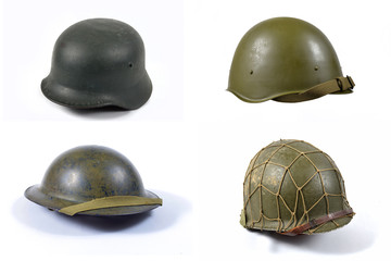 fours military helmets