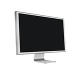 Aluminum LCD Computer Monitor with blank screen on white backgro