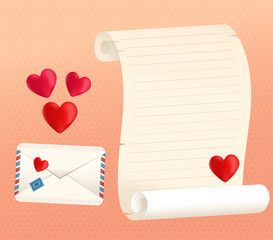 Love Letter Scroll And Envelope Styles With Hearts