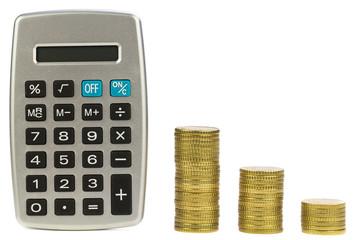 Taschenrechner mit Geldstapel