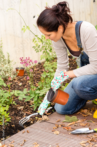Woman kneeling planting flowerbed autumn garden