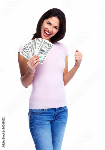 Woman holding money
