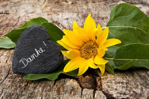 Sonnenblume mit Schieferherz auf Holz, Danke