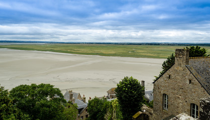 View of the bay from Mont Saint Michel - France