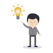 Geschäftsman mit einer Glühbirne, Idee, Kreativität