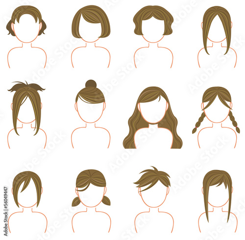 Gold hairstyle icon collection set 3