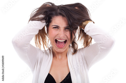 young woman screaming with open arms