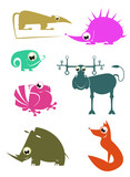 Cartoon funny animals set for design 2