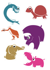 Cartoon funny animals set for design 4