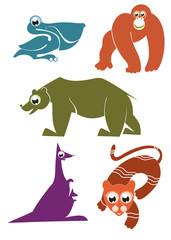 Cartoon funny animals set for design 3
