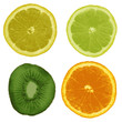 Set, lemon, lime, orange, kiwi isolated on white background. Vec