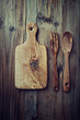 Olive wood chopping board, spoon and fork