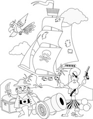 Pirates with a cannon and a ship coloring page