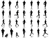 Silhouettes and shadows of running, vector