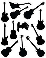 Silhouettes of guitars. vector