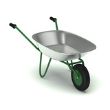 Green garden wheelbarrow isolated on white.