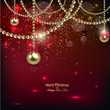 Elegant christmas background with golden baubles. Vector illustr