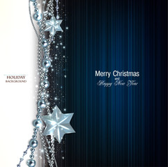 Elegant christmas background with blue garland and stars. Vector