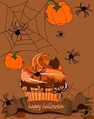 Halloween Karte mit Spinnen