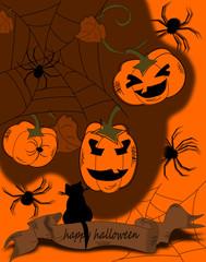 Halloween Karte mit Kürbis und Spinnen