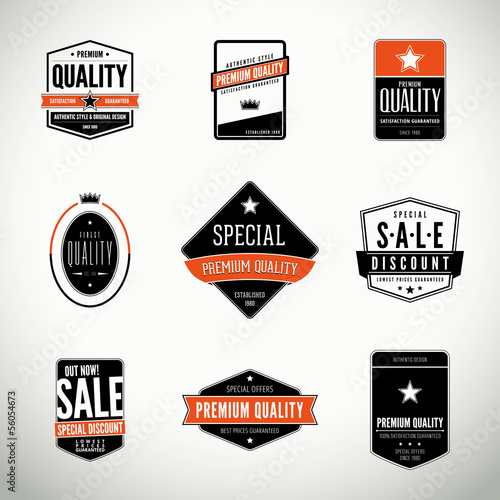 Vector set with labels and badges