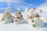 Winter, snow, sun and fun,  Christmas - happy snowman friends an