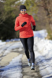 Winter running, exercise woman