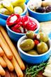 Mediterranean cuisine - antipasti and grissini
