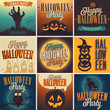 Halloween Posters set. Vector illustration.