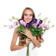 Beautiful happy woman with boquet of flowers