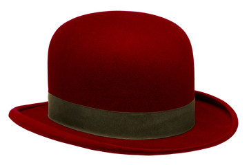 Red bowler or derby hat