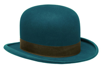 Blue bowler or derby hat