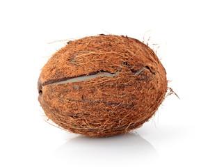 Studio shot of cracked coconut isolated on white