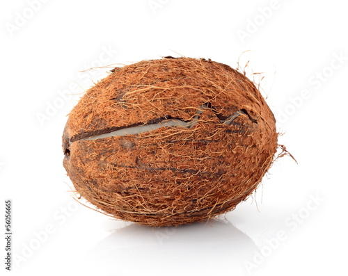 Studio shot of cracked coconut isolated on white