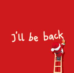 Santa Claus sprayt Ill be back auf roten Hintergrund
