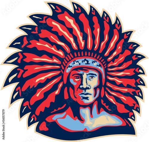 Native American Indian Chief Warrior Retro - 56057879