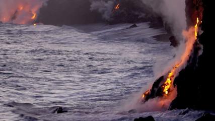 Molten Lava Causing Steam Ocean Waves