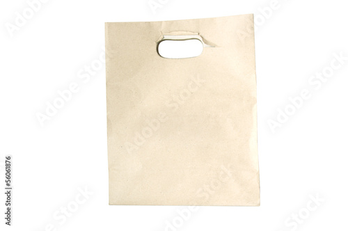 Recycled Shopping paper bag isolated on white background